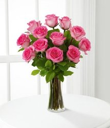 DOZEN PINK ROSES VASE from Sidney Flower Shop in Sidney, OH