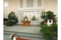 Greenery on the Alter from Sidney Flower Shop in Sidney, OH