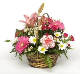 PINK BASKET BOUQUET from Sidney Flower Shop in Sidney, OH